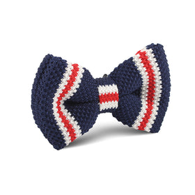 American Navy Blue Knitted Bow Tie