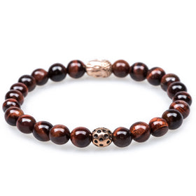 Angkor Red Tiger Eye Rose Gold Buddha Bracelet