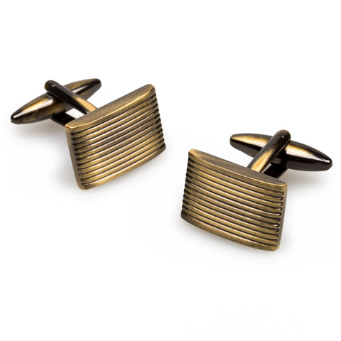 Antique Brass Rectangle Groove Cufflinks