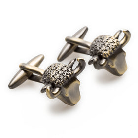 Antique Brass Wall Street Bull Cufflinks