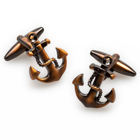 Antique Copper Anchor Rope Cufflinks