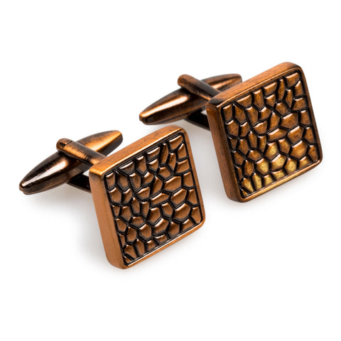 Antique Copper Pebble Cufflinks