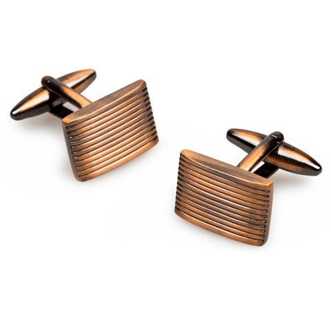 Antique Copper Rectangle Groove Cufflinks