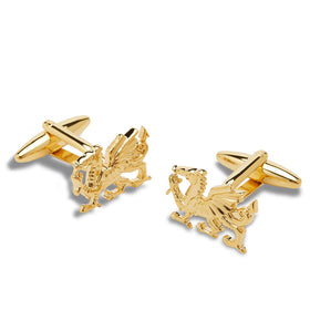 Antique Gold Welsh Dragon Cufflinks