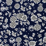 Aomori Navy Blue White Floral Pocket Square Fabric