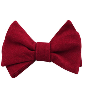 Apple Maroon Linen Self Bow Tie