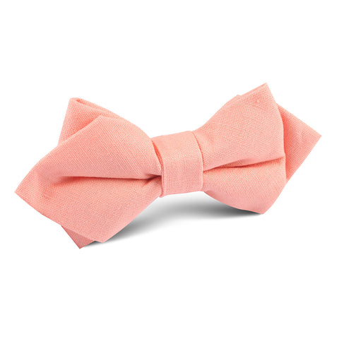 Apricot Peach Slub Linen Diamond Bow Tie