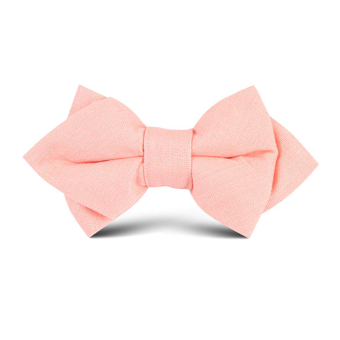 Apricot Peach Slub Linen Kids Diamond Bow Tie