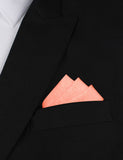 Apricot Peach Slub Linen Oxygen Three Point Pocket Square Fold