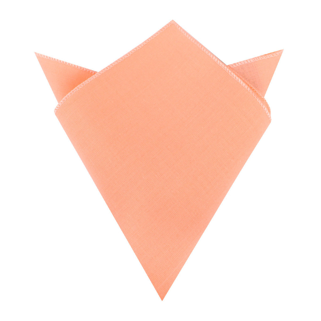 Apricot Peach Slub Linen Pocket Square