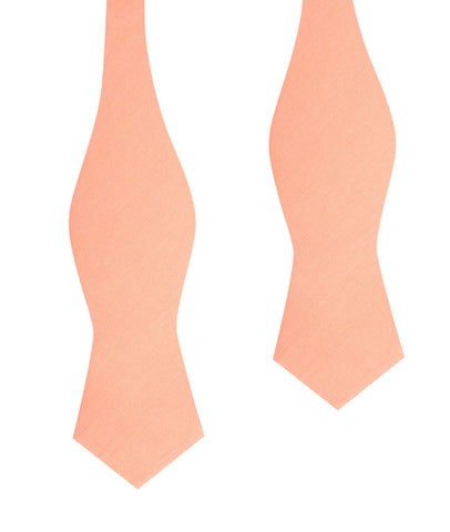 Apricot Peach Slub Linen Self Tie Diamond Tip Bow Tie