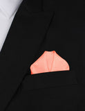 Apricot Peach Slub Linen Winged Puff Pocket Square Fold