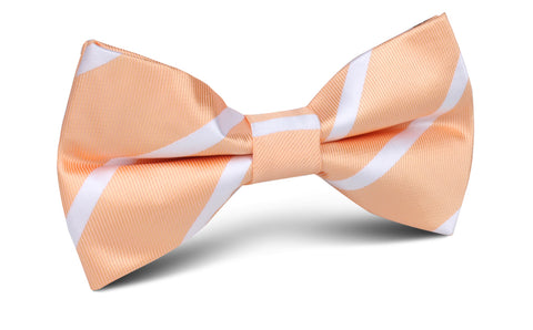 Apricot Striped Bow Tie