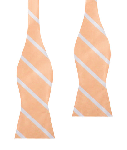 Apricot Striped Self Bow Tie