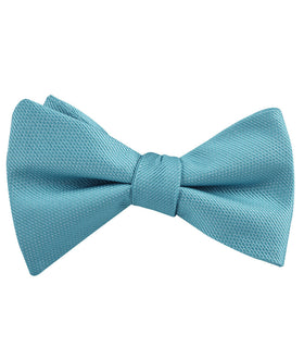 Aqua Blue Malibu Weave Self Bow Tie