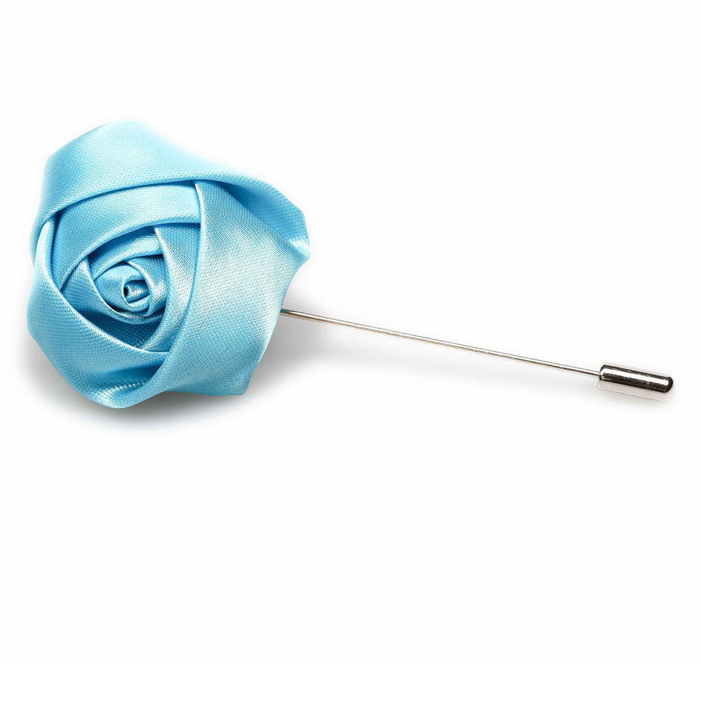 Aqua Blue Satin Rose Lapel Pin