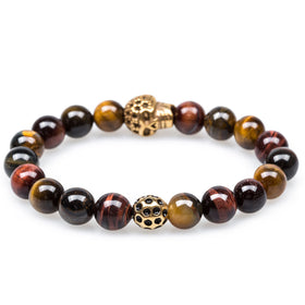 Arizona Tiger's Eye Gold Skull Bracelet