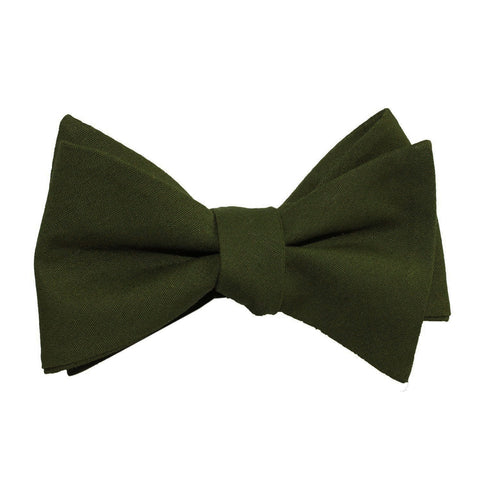 Army Green Cotton Self Tie Bow Tie