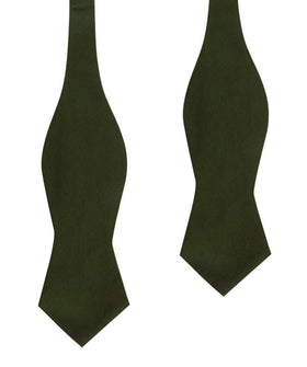 Army Green Cotton Self Tie Diamond Bow Tie