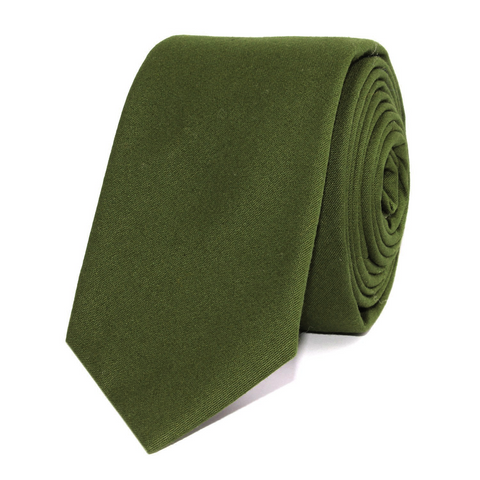 Army Green Cotton Skinny Tie