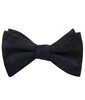 Asagao Midnight Blue-Black Floral Self Bow Tie