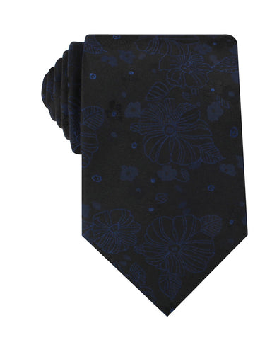 Asagao Midnight Blue-Black Floral Necktie
