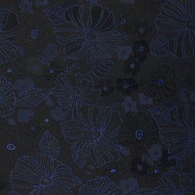 Asagao Midnight Blue-Black Floral Pocket Square