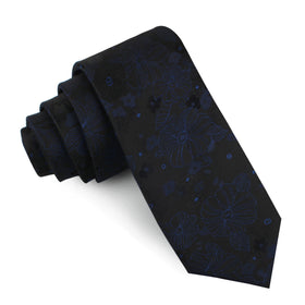 Asagao Midnight Blue-Black Floral Skinny Tie