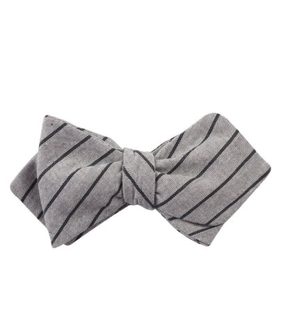 Ash Gray Pinstripe Diamond Self Bow Tie