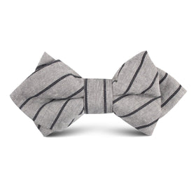 Ash Gray Pinstripe Kids Diamond Bow Tie