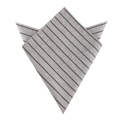 Ash Gray Pinstripe Pocket Square