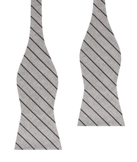 Ash Gray Pinstripe Self Bow Tie