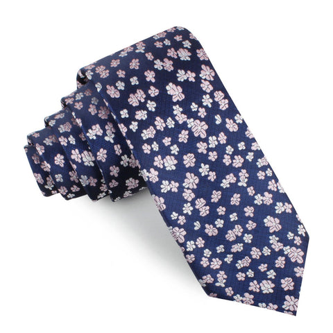 Aster Amellus Lilac Floral Skinny Tie
