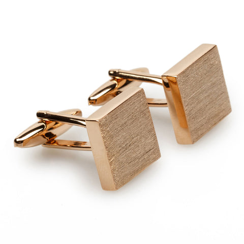 Aswan Brushed Rose Gold Square Cufflinks