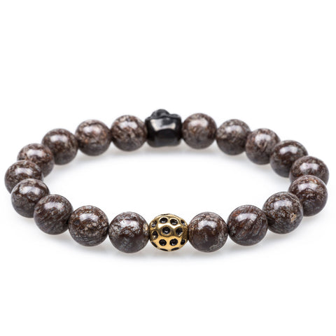 Atticus Brown Charcoal Rutile Black Skull Bracelet