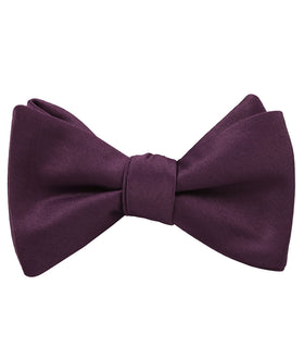 Aubergine Purple Satin Self Bow Tie
