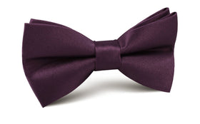 Aubergine Purple Satin Bow Tie