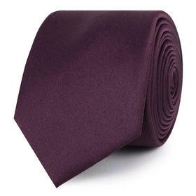 Aubergine Purple Satin Skinny Tie