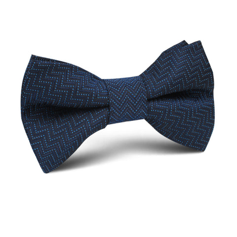 Aztec Blue Herringbone Kids Bow Tie