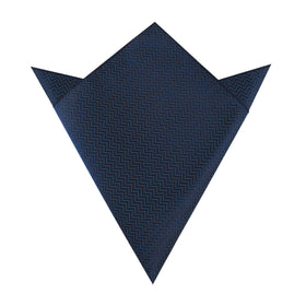 Aztec Blue Herringbone Pocket Square