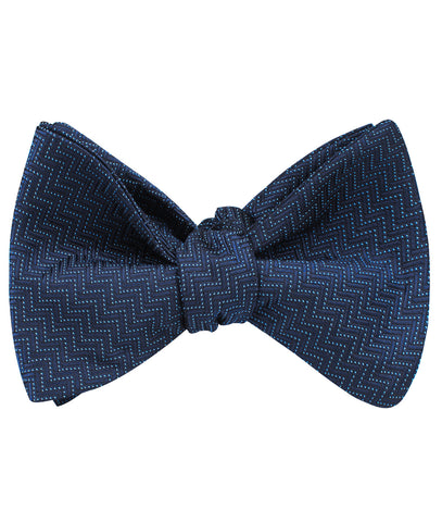 Aztec Blue Herringbone Self Bow Tie