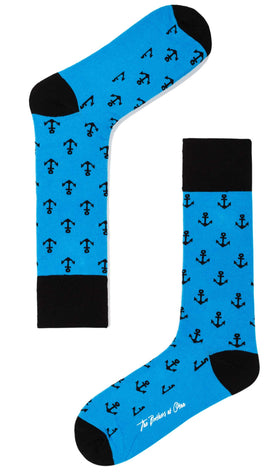Azure Blue Anchor Socks