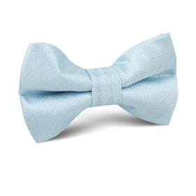 Baby Blue Herringbone Chevron Kids Bow Tie