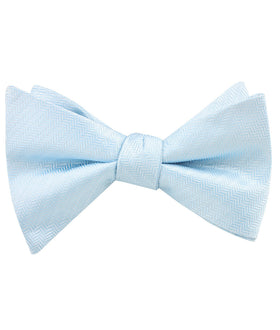 Baby Blue Herringbone Chevron Self Bow Tie
