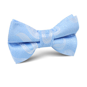 Baby Blue Teardrop Paisley Kids Bow Tie