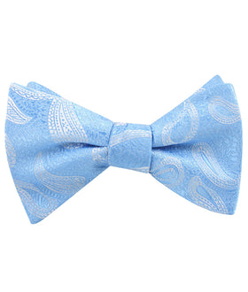 Baby Blue Teardrop Paisley Self Bow Tie