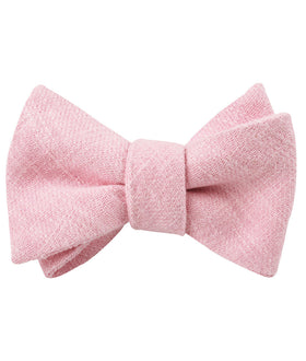 Baby Pink Chevron Linen Self Bow Tie