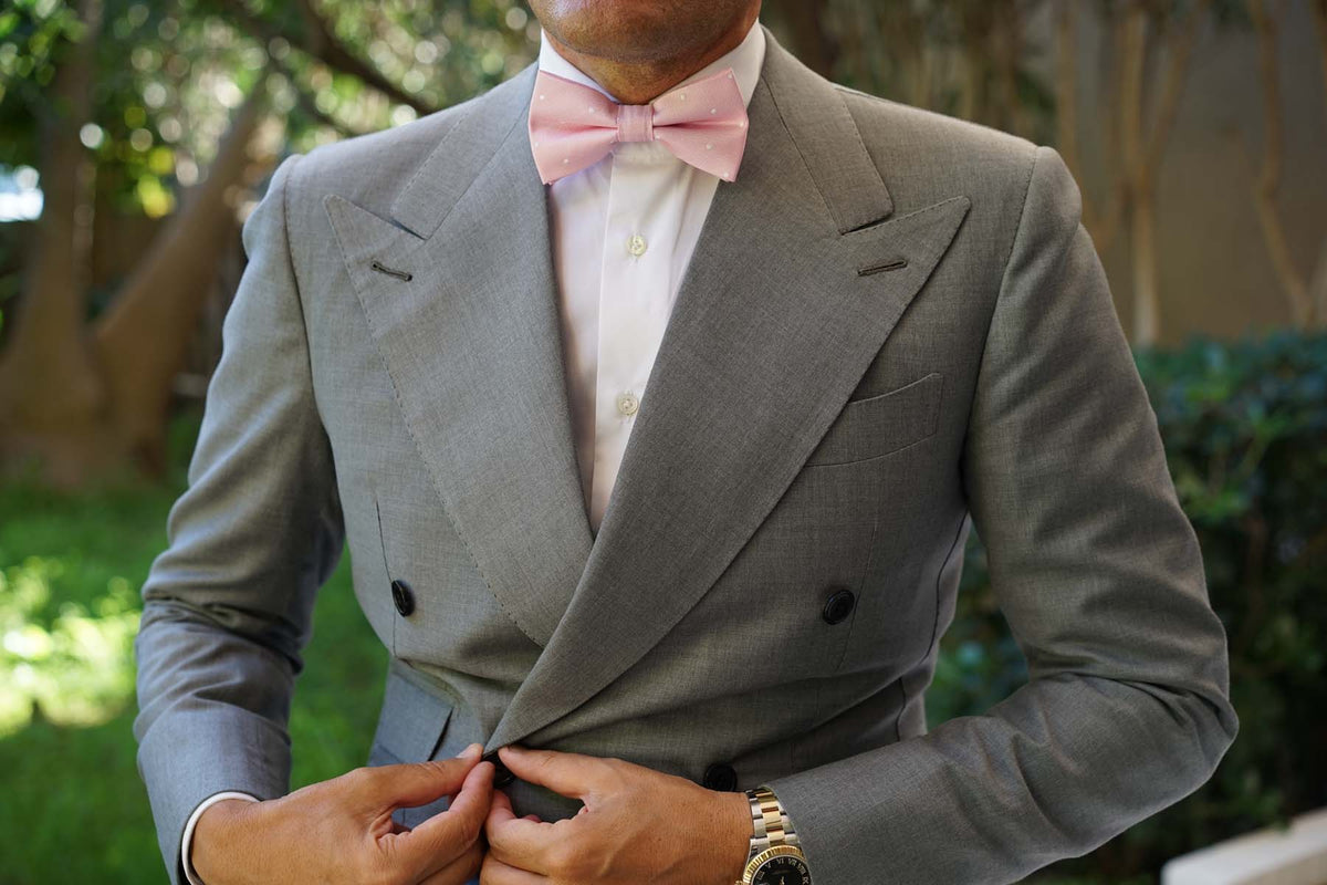 Baby Pink with White Polka Dots Bow Tie