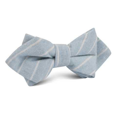 Baby Blue Wide Pinstripe Linen Diamond Bow Tie