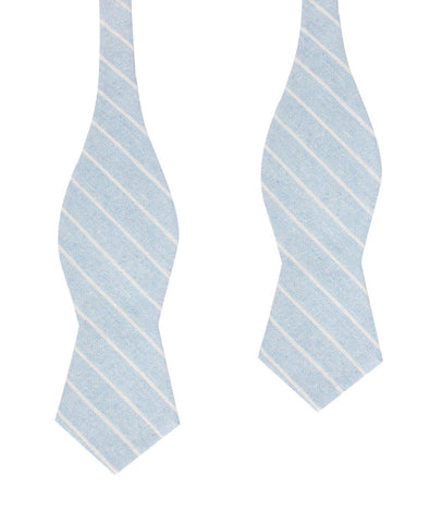 Baby Blue Wide Pinstripe Linen Diamond Self Bow Tie